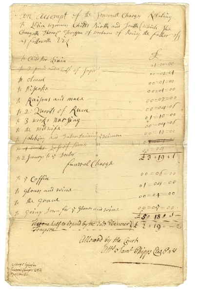 Bill For Childbirth and Funeral - c1790