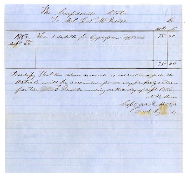 Confederate Document Written By The 1st Creek Indian Regiment