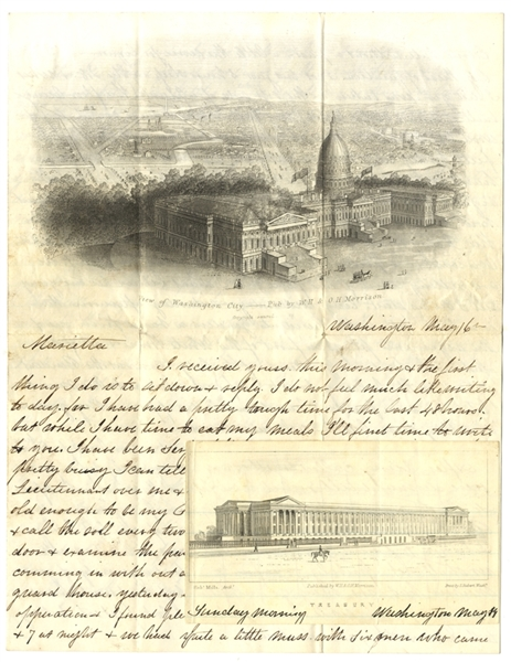 Witnessing President Lincoln Welcoming His Friends At White House Ceremonies & A Detailed Description of This Letter's Washington City Illustration