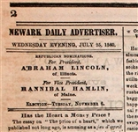 Bound Volume of Newark Daily Advertiser With Lincoln Hamlin Election Ads