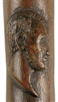 Hand-Carved Cane with Abraham Lincoln's Bust Portrait
