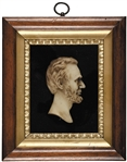 Stunning Abraham Lincoln Wax Profile Bust Presentation