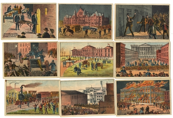 Rare Rare Card Set of the Cincinnati Court House Burning by The Mob