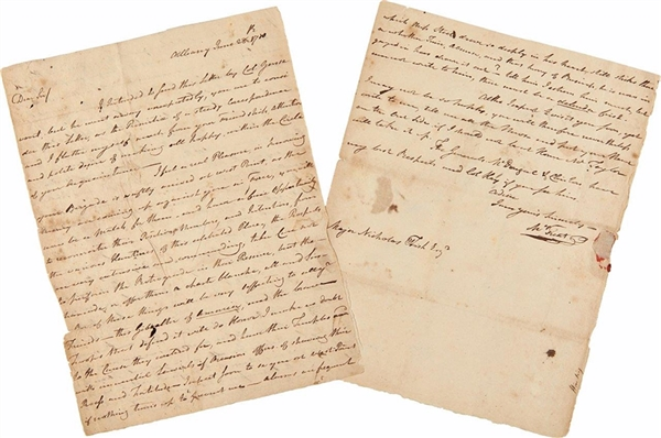 AUTOGRAPH LETTER, SIGNED, FROM DR. MALACHI TREAT TO MAJOR NICHOLAS FISH, DISCUSSING INDIAN RAIDS IN THE MOHAWK VALLEY