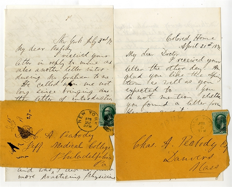 Letters From THE COLORED HOME and HOSPITAL of New York City, 1872.