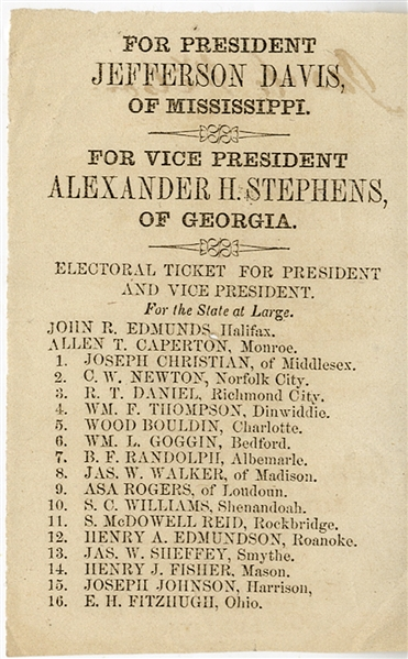 The Only Confederate States National Election