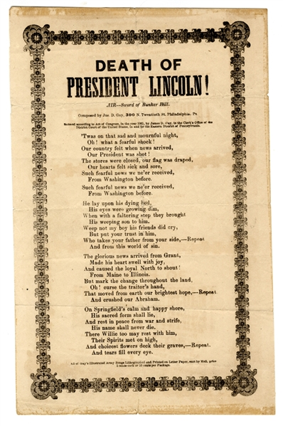 1865 Lincoln Mourning Poem: A Nation Horrified At Lincoln's Death Allows He and Willie To Lie Quietly Together In Death.
