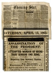 The Lincoln Assassination Reported in the Washington DC Newspaper.