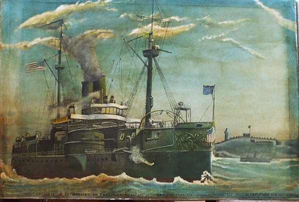 Oil on Canvass Painting Of The USS Maine.