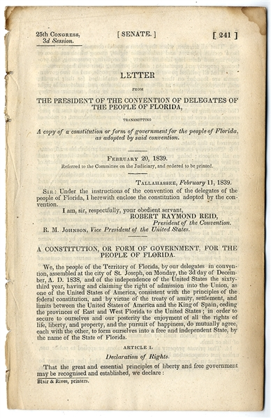A Printing of the Florida Constitution
