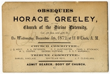 Invitation To Attend Funeral Of Horace Greeley....Editor And Politician