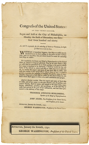 An early Congressional broadside, signed in print by George Washington as President