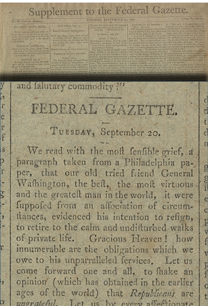 Broadside References George Washington's Resignation From Public Office