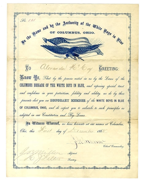Anti-Ulysses S. Grant Presidential Campaign White Boys Certificate