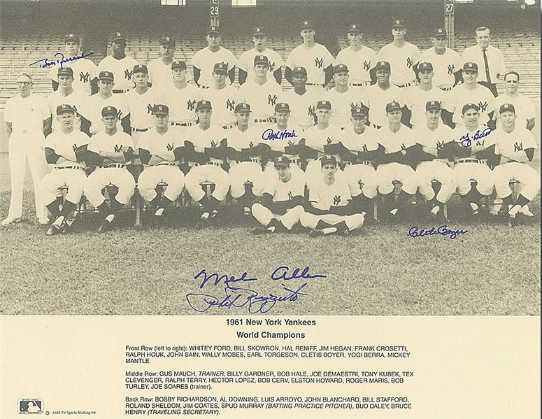 1961 New York Yankees team photograph signed by six including Yogi Berra