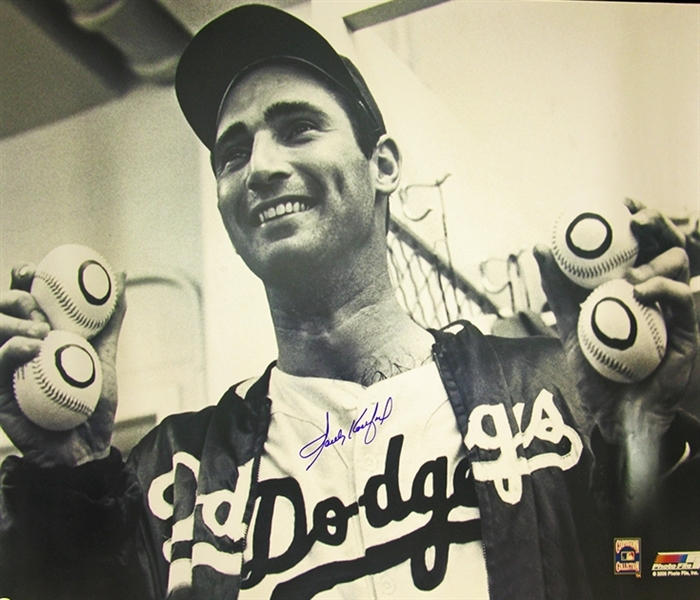 Huge Signed Photograph of Koufax after his 4th No-Hitter