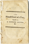 1759 Pamphlet: The Honest Grief of a Tory-With An Argument Against Proposed North American Tobacco Taxation