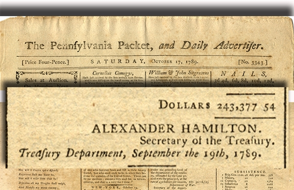 Alexander Hamilton Sets The First United States Budget - 1789