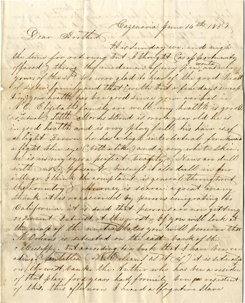 In This 1852 Letter, A Fugitive Slave Preaches at a Meeting in Cazenovia, NY, Just Two Years After Frederick Douglass Presided at the Fugitive Slave Law Convention There in August 1850