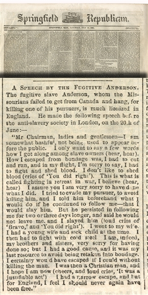 The Fugitive Slave Anderson Makes a Public Speech