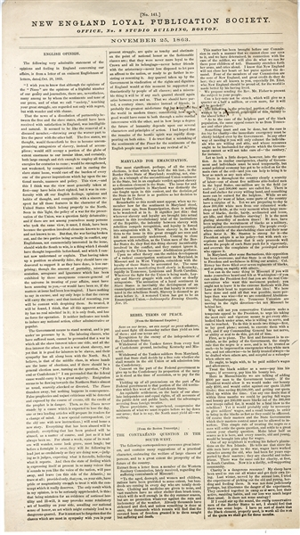 Will Maryland Free Her Slaves? War dated Broadside - 1863