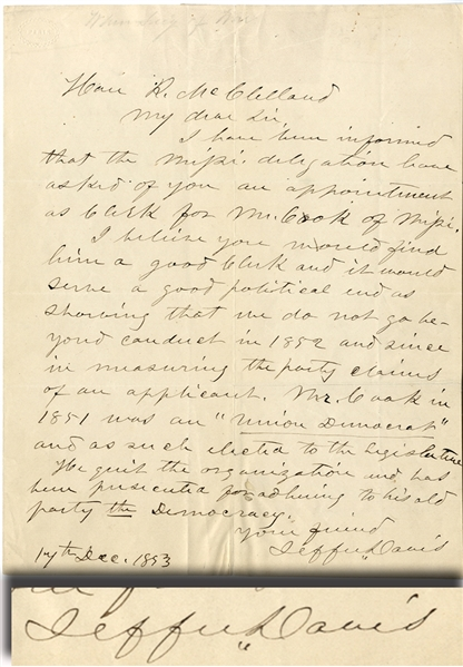 Secretary of War Jefferson Davis Writes A Reccomendation