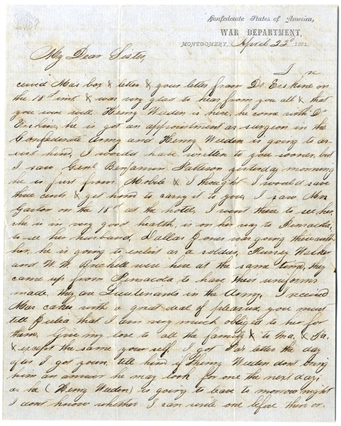 Early Confederate Letter From the First Capitol, Montgomery Alabama