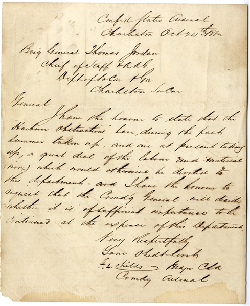 The Commander of the Arsenal, Major F. Childs Writes to General Thomas Jordan Regarding the Harbor Obstructions in Charleston Harbor