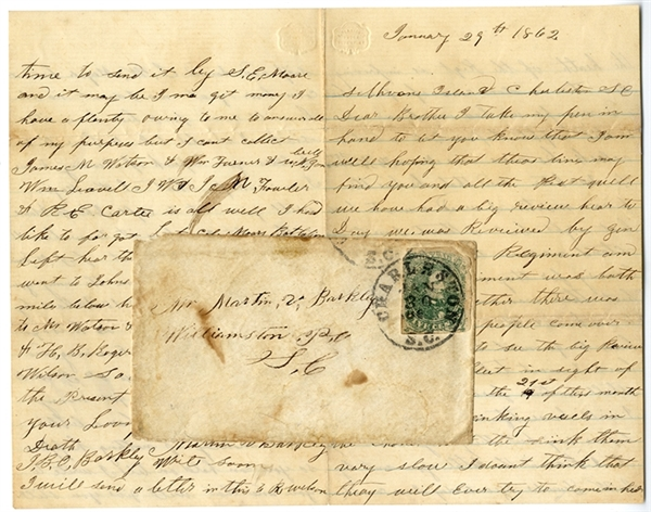 18th S.C. Infantry Letter from Sullivan's Island with Envelope & Nice 5 Cent CSA 1 Green Jeff Davis Stamp & Perfect Charleston Cancellation