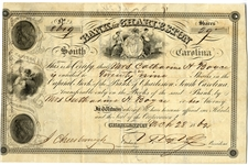 War Date Stock Certificate for the Bank of Charleston