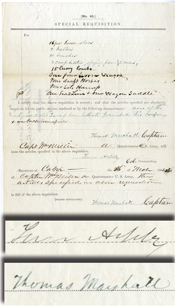 Colonel Turner Ashby Approves the Requisition Orginated By CaptainThomas Marshall - Both Killed In Action