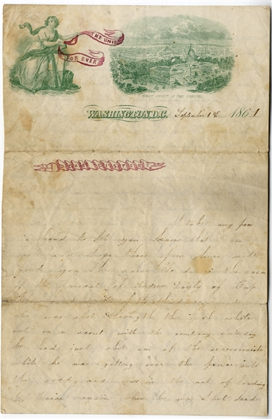 1st New Jersey Soldier's Letter on Scarce Patriotic Stationery – Early Action Around Alexandria, Va. – Writer would be killed 9 months later at Gaines' Mill