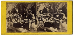 Great Scene of Soldiers Having Supper - Black Man Seated on Ground With Them - A Rare Camp Scene