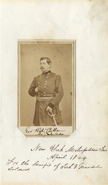 General George McClellan Signed CDV Sold At NY Sanitary Fair