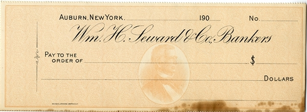 The Bank Check Has a Profile of Secretary William Seward