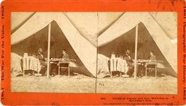 President Lincoln and Gen. McClellan in McClellans Tent