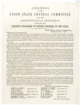 Rare 1864 Presidential Campaign Connecticut Election Broadside