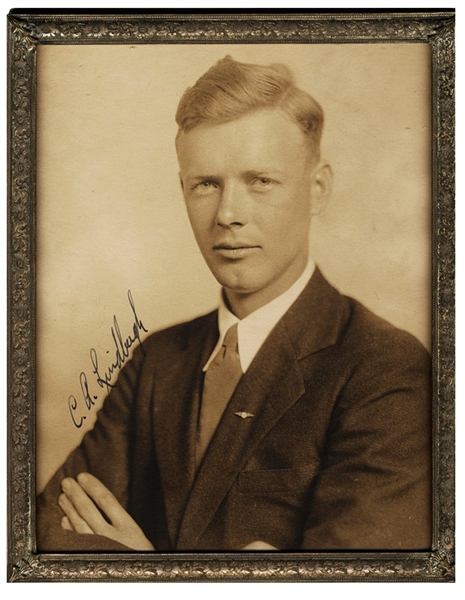 A Superb Charles Lindbergh Signed Photograph In An Early Silver Plate Frame