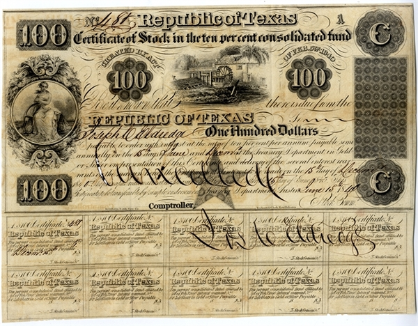 Republic of Texas Certificate of Stock Dated June 15th, 1840