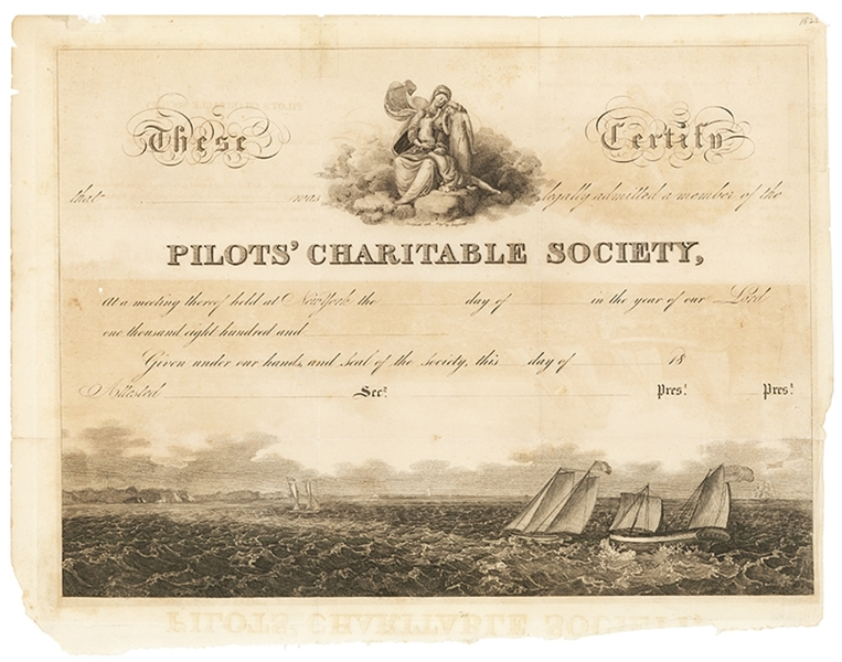 Exceptionally Graphic Early Maritime Membership Certificate