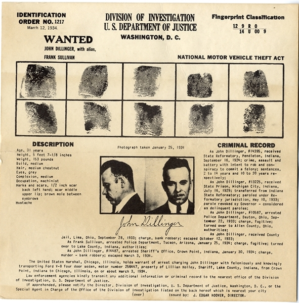 Dillinger FBI Card