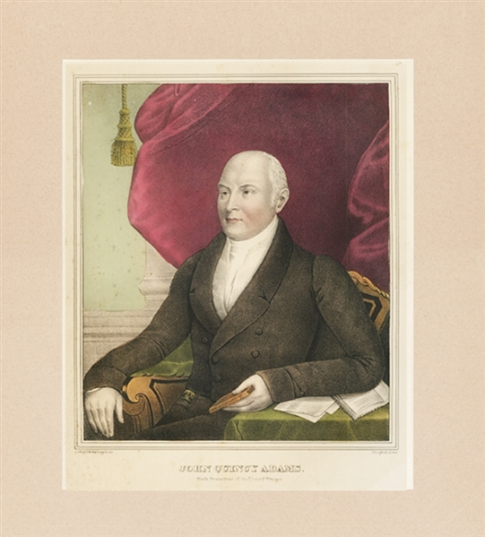 Large Hand Tinted Print Of John Quincy Adams