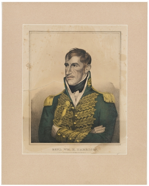 Large Hand Tinted Print Of William Henry Harrison