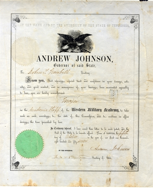 Scarce Andrew Johnson Governor Military Academy Appointment