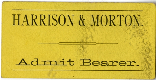 Harrison and Morton Election Speech Ticket