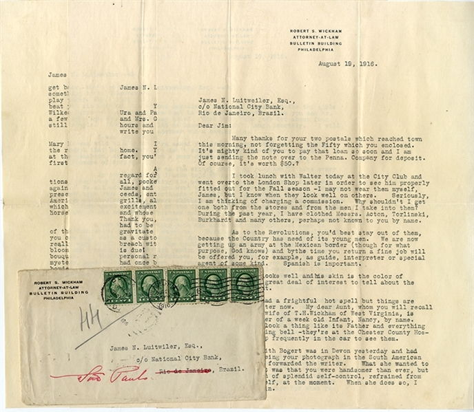Pancho Villa Expedition Letter to Noted International Financier James Luitweiler