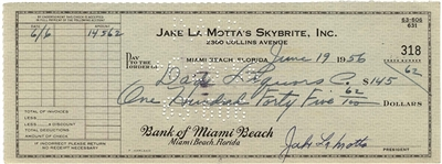 Boxer Jake La Motta Signed Check