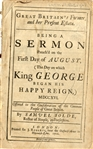 "1716 ""Being a Sermon Preached on the First Day of August. (The Day which King George Began His Happy Reign)"""