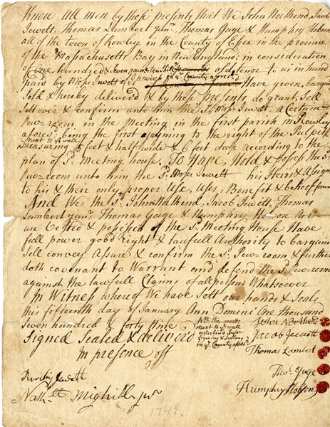 1749 Document Re: First Parrish of Rowley (Ispswich) Massachusetts