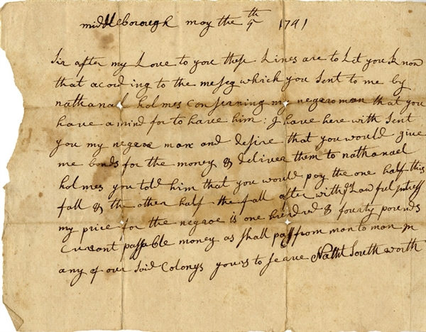 1741 Colonial Connecticut Slave Sale Demand Letter: My Price For The Negro Is One Hundred & Forty Pounds Currant Passable Money As Shall Pass From Man To Men In Any Of Our Said Colonys.